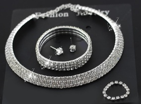 daily offer -  3 Layers Rhinestones Wedding Jewelry Set of 4 M00995