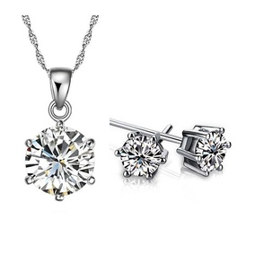 daily offer - 18K White Gold Plated Cubic Zircon 6 mm Jewelry Set M00908